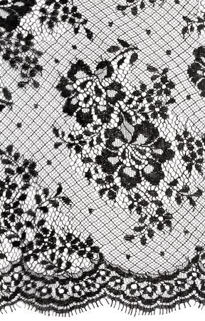 lace: Adorno floral negro fondo de encaje sobre blanco