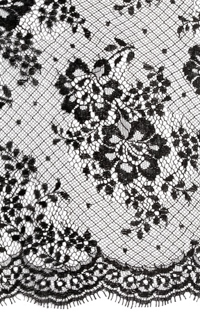 black silk: Black floral ornament Lace background on white
