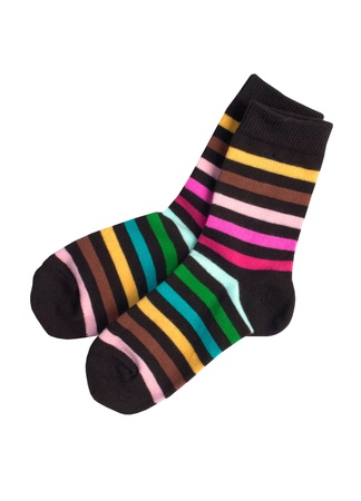 Pair of childs striped socks isolated on a white background