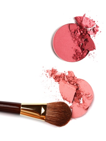 eyeshadow: Cosmetic powder brush and crushed blush palette isolated on white Stock Photo