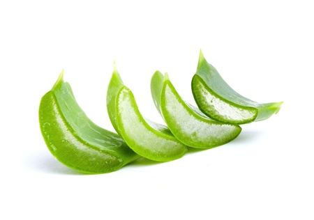 Sliced Aloe Vera fresh leaf. Isolated over white Stock Photo