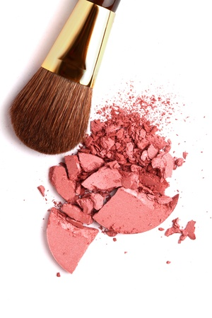 makeup powder: Cosmetic powder brush and crushed blush palette isolated on white Stock Photo