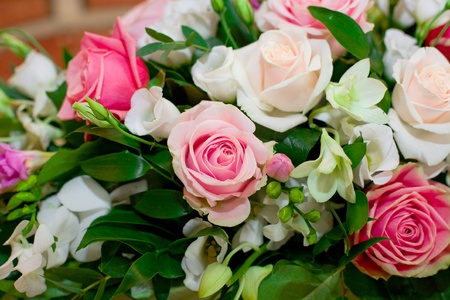 luxury roses and orchid bouquet Stock Photo