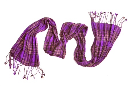 violet checkered scarf isolated on white