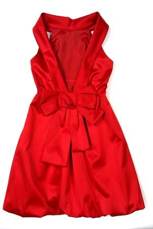 흰색에 고립 된 빨간 이브닝 드레스