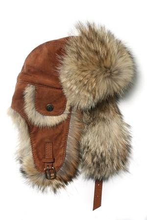 Designer Winter Fur Hat Stock Photo