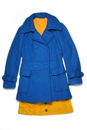 Blue coat isolated on white Stock Photo