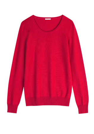Red cashemire or wool sweater isolated on wmite background