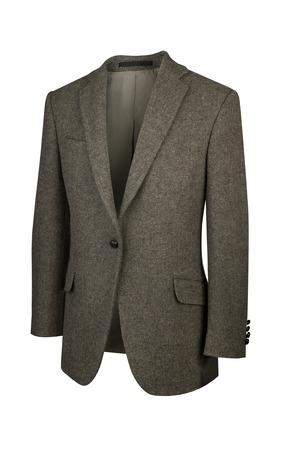 럭셔리 남자 모직 재킷에 흰색을 격리