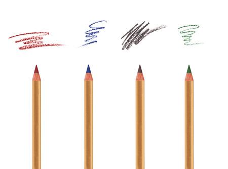 샘플 선 눈, 이마와 립 라이너와 함께 흰색에 고립 된 4 개의 화장품 연필 스톡 사진