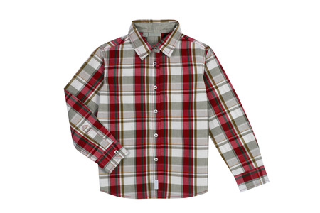 Red checkered boy shirt isolated on white Banque d'images