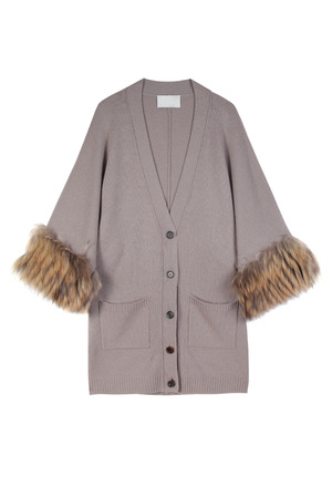 Luxury grey or beige women cardigan decorated with natural fur isolated on white