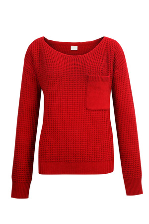 Red knitted sweater isolated on white
