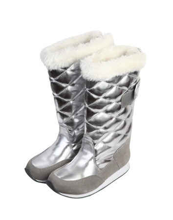 Girl silver winter boots isolated on white