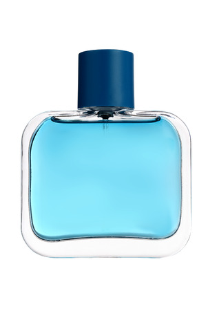 Blue glass perfume bottle isolated on white  Banque d'images