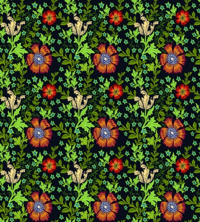 Floral victorian style seamless background