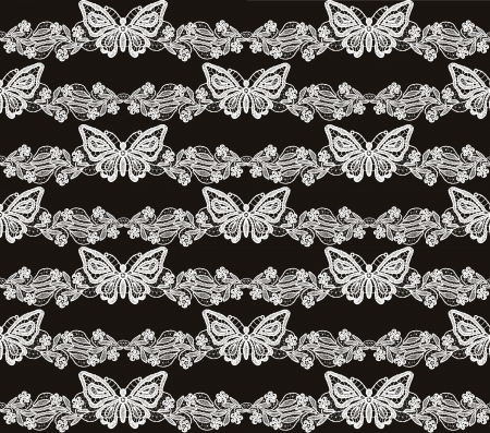 Butterfly and floral white lace seamless pattern on black background