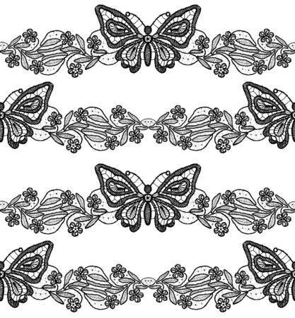 Butterfly and floral black lace seamless pattern on white background Stock Photo