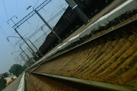 inclination: Railway station under an inclination with a freight train Stock Photo