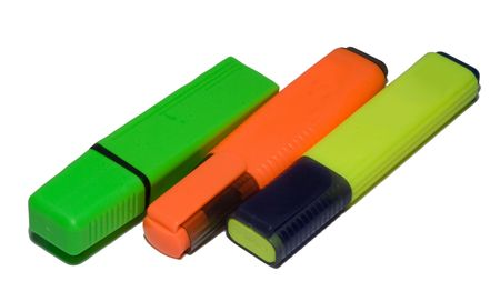 Three colour markers on a white background photo