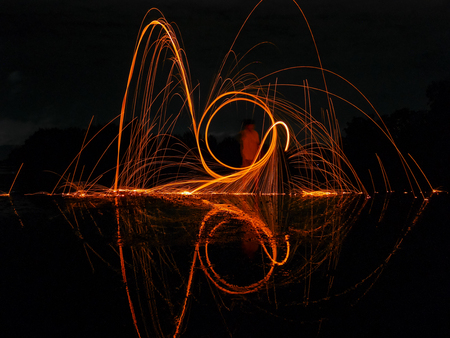 light lines of steel wool with long exposure, speed motion abstract background in the dark night