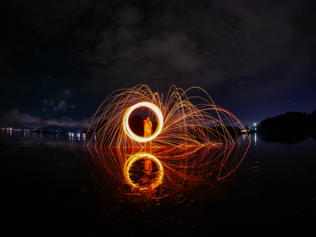 steel wool: light lines of steel wool with long exposure, speed motion abstract background in the dark night
