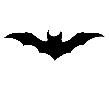 schwarze Fledermausikone auf weißem Hintergrund, Symbol von Halloween Standard-Bild