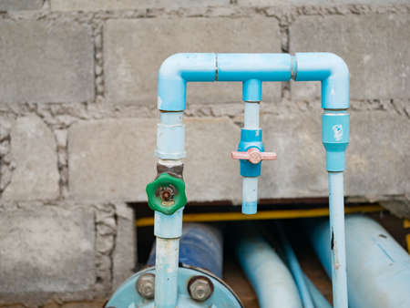 blue water pipe with valve, Plumbing work
