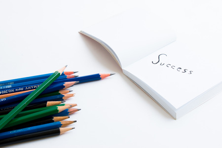 erased: Erased failure write new success,Success concept write down in a white paper book with pencil Stock Photo