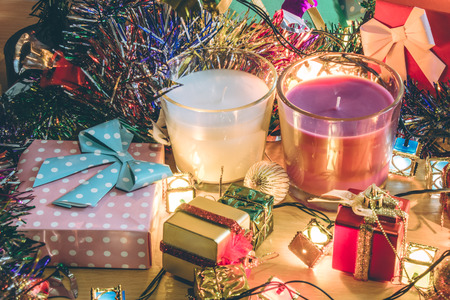 christmas frog: white and violet christmas candle and Ornament decorate Merry Christmas and happy new year