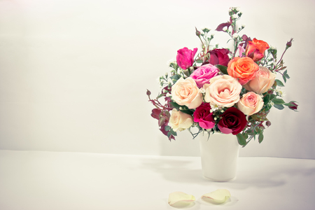 Vase of Roses bouquet on white background, set of Beautiful flower Valentine concept