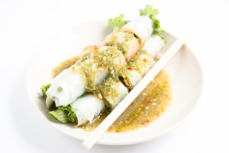 Thai noodle with spicy souce, clean and healthy food.