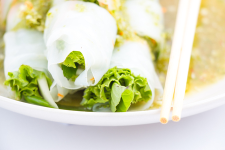 thai noodle: Thai noodle with spicy souce, clean and healthy food.