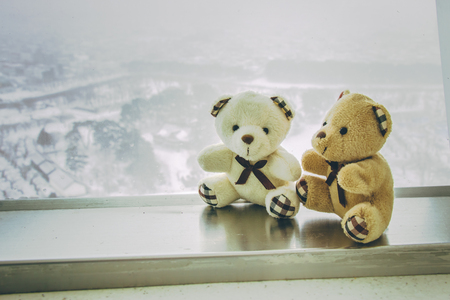 to get warm: Lovely couple bear sit together on stainless bar beside window at snowy day, Goryokaku park, Hokkaido, Japan Stock Photo