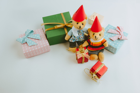 greet card: A couple lovely teddy bear and Ornament, Christmas decorate at Merry Christmas and happy new year night light.