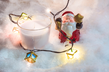 christmas frog: Santa claus hold bell and white christmas candle, Ornament decorate Merry Christmas and happy new year