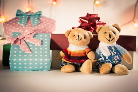 christmas frog: Ornament and couple lovely bear, Christmas items decorate for the holy night. Merry xmas and happy new year night light.