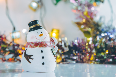 silent night: Snowman and Ornament Christmas items decorate for the silent night. Merry xmas and Happy new year.