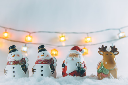 Santa claus, reindeer, Snowman and Ornament Christmas items decorate for the silent night. Merry xmas and Happy new year.