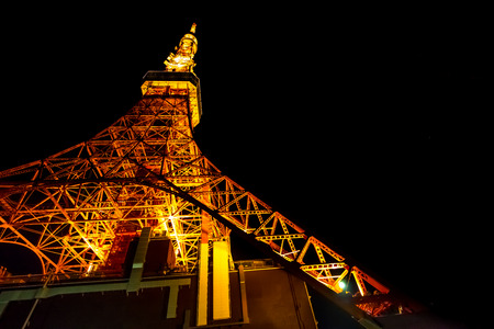 Night light of tokyo tower, communications and the great observation tower, Tokyo, Japan Editorial