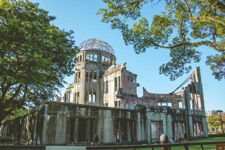 bombing: Atomic Dome, Hiroshima Peace Memorial, atomic bombing of Products Exhibition Hall in World war II Japan.