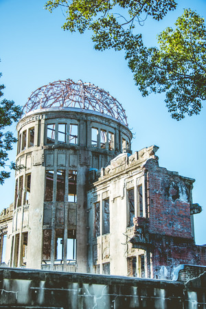 atomic bomb: Close up of Atomic Dome, Hiroshima Peace Memorial,  atomic bombing of Hiroshima in World war II Japan. The Dome, photo taken from the southwest side
