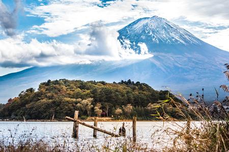 Mount fuji at kawaguchiko Lake in Yamanashi, japan. Mt. Fuji with autumn foliage at Kawaguchi Lake.