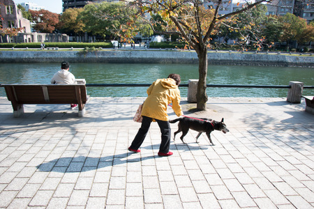 Woman walk with her dog at Atomic Dome from Hiroshima Peace Memorial park in the autumn season of Hiroshima, Japan.