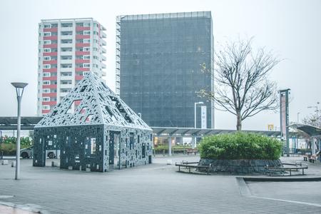 strom: Heavy Raining day with depression in front of Shin-Yatsushiro Station, Kumamoto, Japan