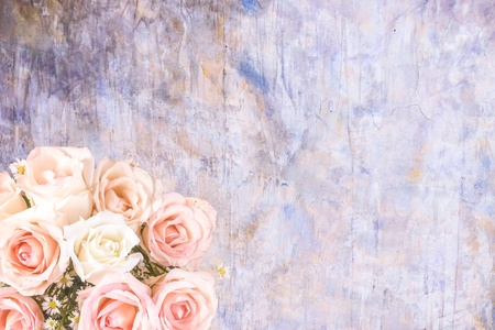 Abstract Overlay bouquet of flower with grungy concrete wallpaper and background