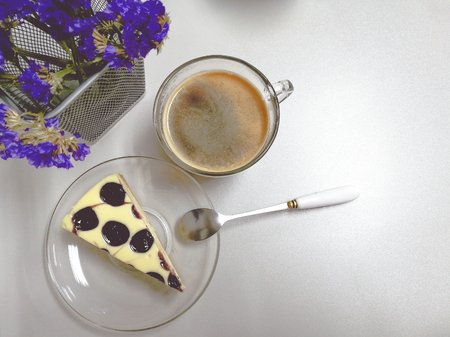 Blueberry Cheese cake Pie and black coffee. morning and dessert