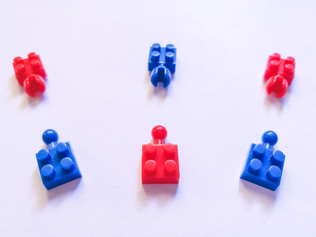 Puzzel plastic colorful. construction blocks or brick toy. Children concept of education, development and growth.