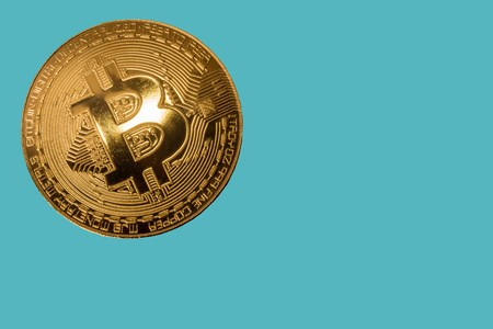 bit coin with the needs of the people on this planet. Separated from the white background. Stock fotó