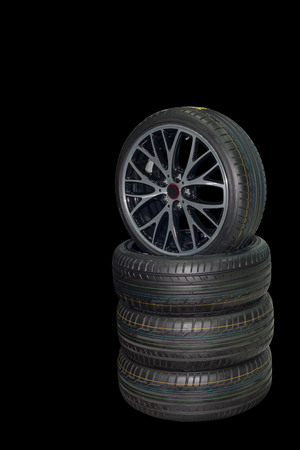 Tires placed side and separated from the background